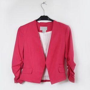 Hot Pink Fitted Blazer with Three Quarter Sleeves